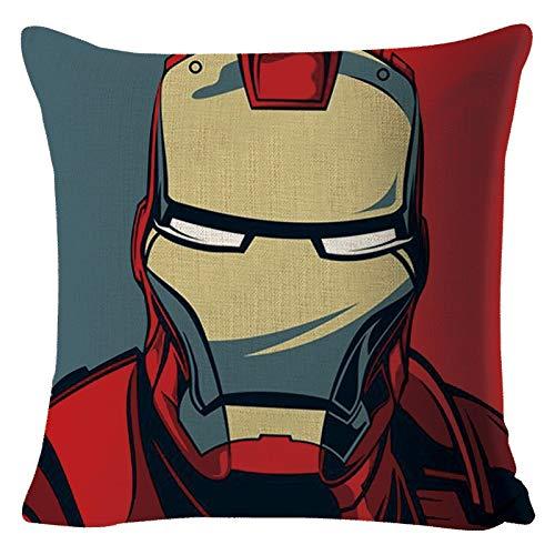 H/A Funda de cojín de lino para superhéroe Iron Man, Capitán América Superman Batman para mapear TOM-EU (color: BZ0566)