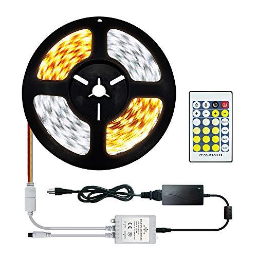 Dual Weiß LED Streifen Lichtband Tunable White 2700K-6000K Kaltweiß & Warmweiß 5M SMD5050 300 LEDs Bi-Color CCT LED Strip Einstellbare mit Fernbedienung & Netzteil