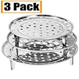NRDBEEE Round Stainless Steel Rack 7.6' 8.5' 9.33' Inch Diameter Steaming Stand Canner Canning Racks Steamer Insert Stock Pot Steaming Tray Stand Pressure Cooker Cooking Toast Bread Salad (3 Pack)