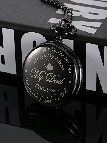 Hicarer Pocket Watch Engraved Gifts for Dad Father with Gift Box, Christmas Birthday Fathers Day Gift from Daughter Son Kid (Black)