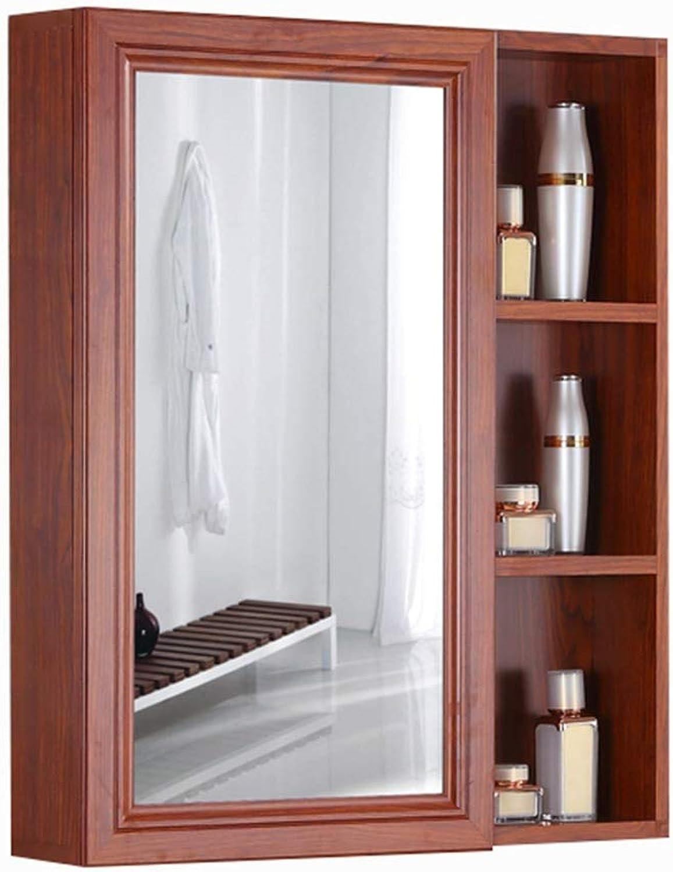 Single Door Mirror Cabinet Bathroom Mirror Cabinet with Door Aluminum Mirror Cabinet Imitation Wood Mirror Cabinet, Wall Hanging (color   Wood, Size   60  70  13cm)