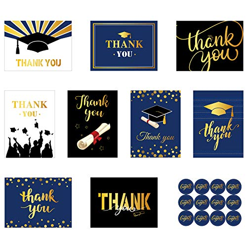 18 Pieces Graduation Thank You Cards Graduate Greeting Cards with Envelopes and Thank You Round Stickers for Graduation Thanks, 9 Designs