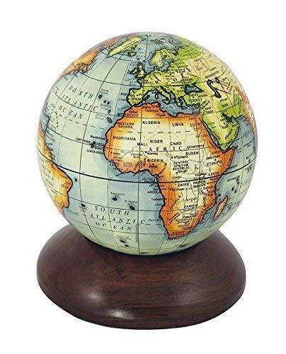 linoows Historischer Globus als Kugel, Globus Kugel auf Edelholz Sockel 10 cm