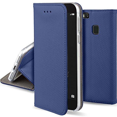 Moozy Funda para Huawei P9 Lite, Azul Oscura - Flip Cover Smart Magnética con Soporte y Cartera para Tarjetas