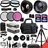 Canon EOS Rebel T3i ACCESSORIES Kit Includes: 58mm High Definition 2X Telephoto Lens + 58mm High Definition Wide Angle Lens + 32GB High Speed Memory Card + 16GB High Speed Memory Card (Total of 48GB) + Full Size Pro Series 72 Inch Tripod + 2 LP-E8 / LPE8 High Capacity Batteries + AC/DC Quick Charger + Large Well Padded Case + 58mm 4 Pieces Close-up Macro Filters + 58mm 3 Piece Filter Set + 58mm UV Protection Filters + 58mm Hard Lens Hoods + 58mm Rubber Lens Hood + External Remote Control + Universal Card Reader + Mini Table Tripod + Memory Case Holder + Screen Protectors + Mini Blower + Cleaning Pen + Lens Cap Holder + Deluxe Cleaning Kit + Ultra Fine HeroFiber Cleaning Cloth