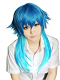 ANOGOL Cosplay Wigs Short Party Hair Mixed Blue Fashion Boy Synthetic Wig