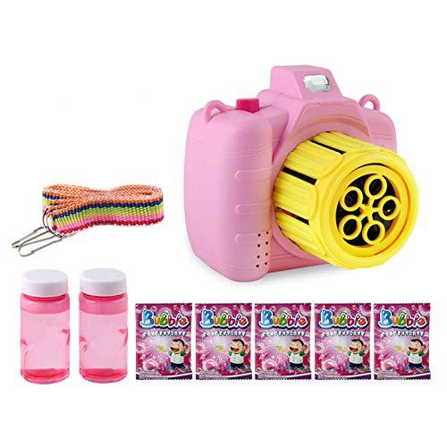 Wenhe Bubble Camera Machine Toy Niños Bubble Blower con luces musicales, pertenece como regalo de cumpleaños, niños y niñas (rosa)