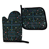 ~ Oven Mitts and Pot Holders Sets,Pacman Retro Video Game Non-Slip Kitchen Mitten, Advanced Heat Resistance Cooking Gloves for BBQ Baking Grilling