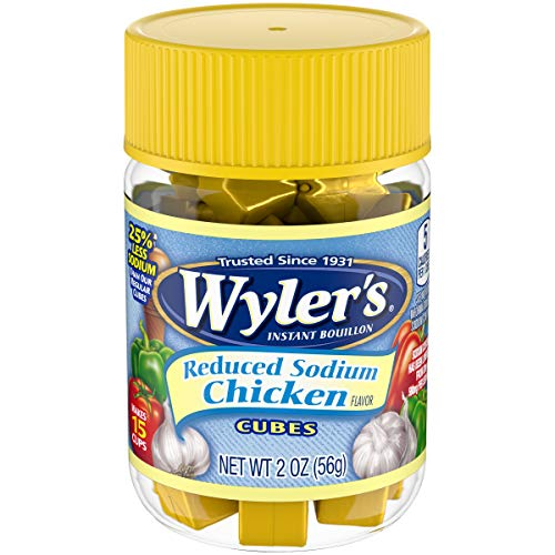 Wyler's Chicken Reduced Sodium Instant Bouillon Cubes (2 oz Jars, Pack of 8)