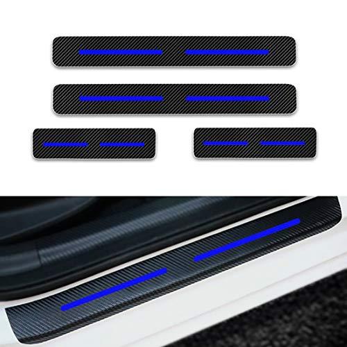 Für Touareg Tiguan Touran Einstiegsleisten Schutz Aufkleber,Verschleiß vermeiden Verhindern Sie Kratzer Rutschfest Kohlefaser 4Stück Blau