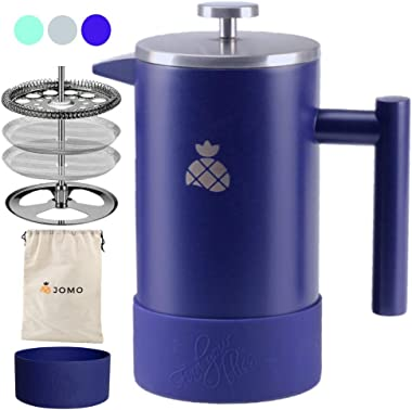 French Press Coffee Maker with Silicone Sleeve and Travel Bag by JOMO, Durable Double Wall Stainless Steel for Hotter Coffee