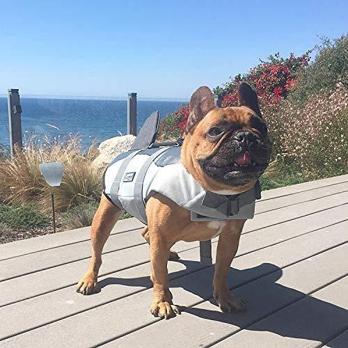 Hifrenchies Hundeschwimmweste Hai Schwimmweste Haustier Sicherheit Badeanzug Rettungsweste für Französische Bulldogge (Größe S, Hai)