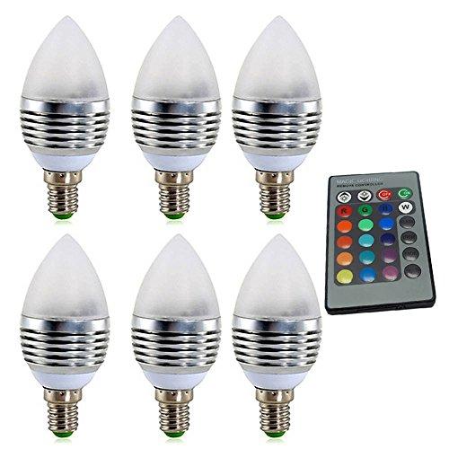Door infrarood downlights voor hoofddecoratie, LED RGB licht spot licht kleur lichten 3 watt equivalent vervanging 30 watt halogeenlamp dimbare lampen AC85-265 V (6 pak) gloeilamp E27