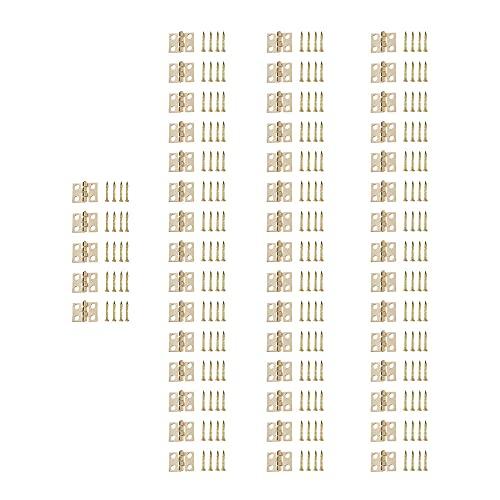 YRA 50 mini bisagras pequeñas, bisagras de puerta de gabinete y cajón con tornillos de repuesto de bisagra, bisagra de metal para caja de artesanía de madera