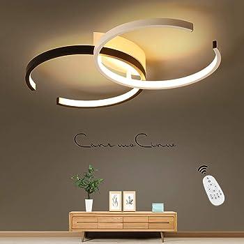 Led Deckenleuchte Modern Wohnzimmer Licht Pendelleuchte Dimmbar 60w Creative Aluminium Acryl Design Lampe Decke Fixture Beleuchtung Wohnzimmerlampe Schlafzimmer Licht Buro Deckenlampe Lampen Schwarz Deckenbeleuchtung Burodeckenleuchten