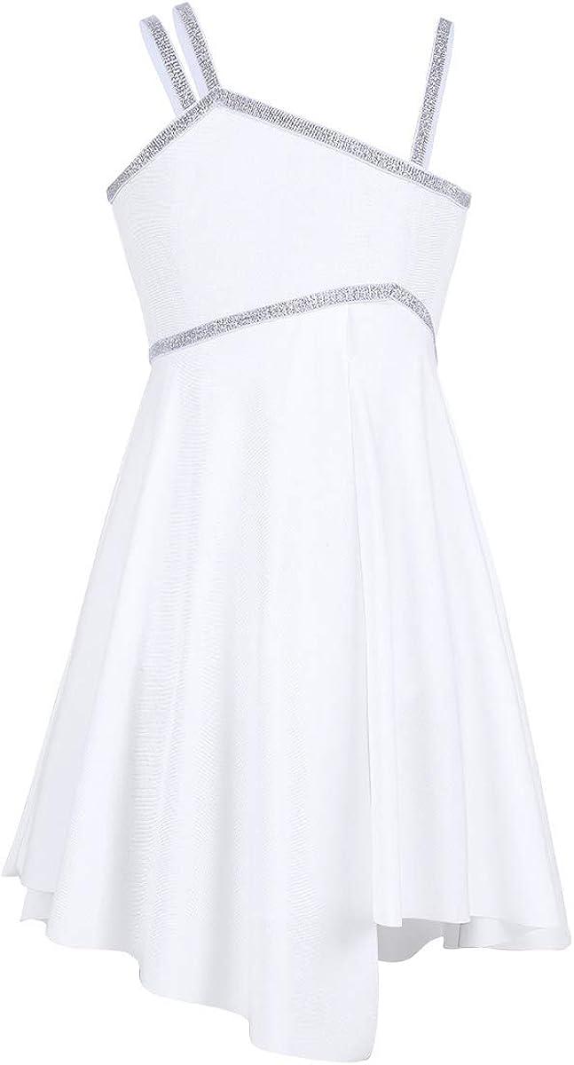 inlzdz Kids Girls Spaghetti Shoulder Straps Shiny Leotard Dress Lyrical Ballet Modern Dance Dress