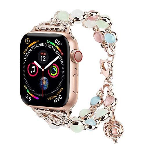 Luce compatibile con cinturino Apple Watch, elastico con perline luminose notturne, cinturino compatibile con iWatch Serie 4 Serie 3 Serie 2 S1 38mm/40mm Rose Gold/Gold Aluminum