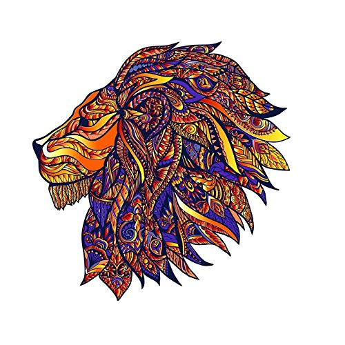 N N Jigsaw Puzzle Wooden 5mm Thick Wooden Puzzle Toy Lion Wooden Jigsaw Puzzle Medium Size Childrens Puzzle 196 Pieces Animal Shaped Jigsaw Gifts for Mom Dad Toys Gift for Friend