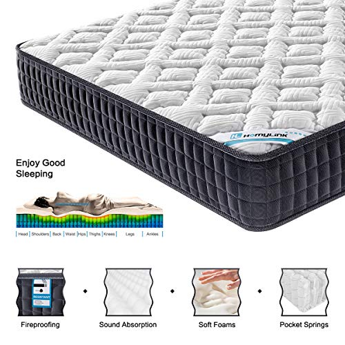 HomyLink 4FT6 Double Mattress Pocket Sprung Memory Foam 9-Zone Orthopaedic 23.5cm Height 3D...