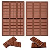Pack of 2 Chocolate Bar Molds - Silicone Break Apart Protein and Engery Bar...