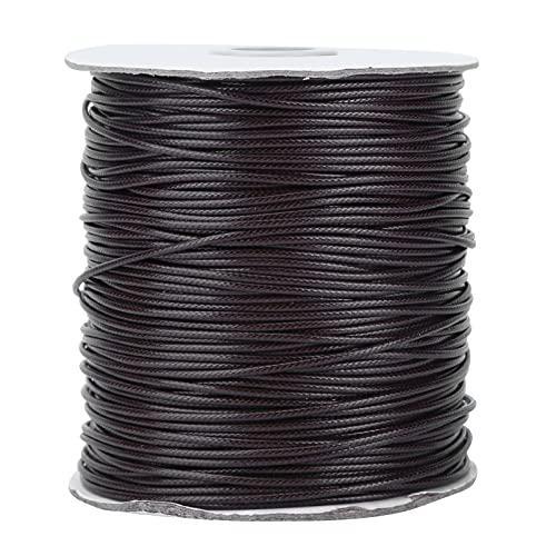 Pssopp Cordón elástico Cuerda elástica Cera Cordón de poliéster Cuerdas recubiertas de Cera Hilo Recubierto de Cera Redonda Impermeable para Hacer Pulseras Trenzadas(Negro)