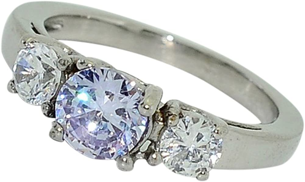 Birthstone Ring~June~Stainless Steel~3 Stone~Cubic Zirconia CZ~Alexanderite~Lavender Crystal~Mother's Ring~Fashion Ring~Women's Jewelry