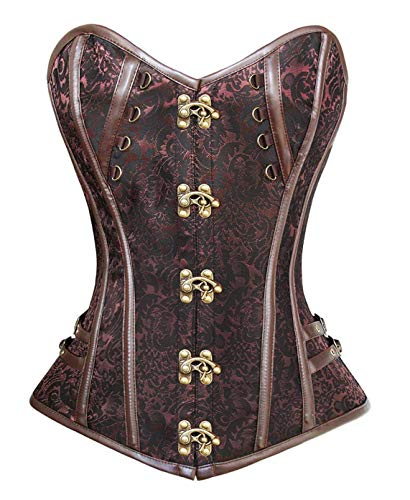 Women's Steampunk Classic Gothic Overbust Corset Tops Bustier (Brown #326,Small)