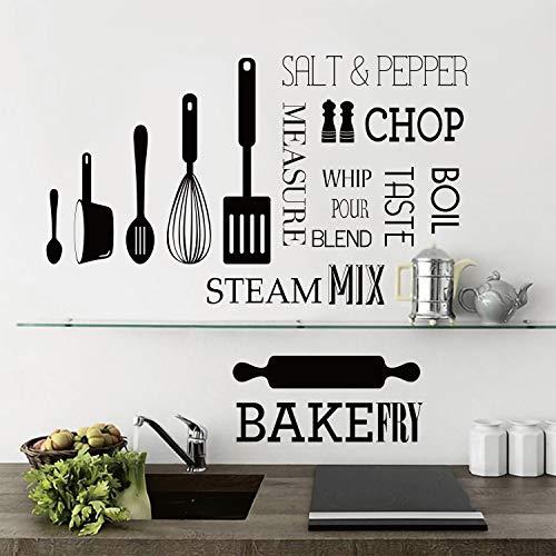 decalmile Pegatinas de Pared Cocina Letras y Frases Vinilos Decorativos Negro Utensilios de Cocina Negro Adhesivos Pared Cocina Comedor Restaurante