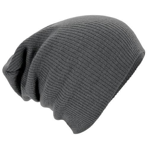 Beechfield Slouch Beanie Knit Hat, Smoke Grey, One Size