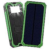 LPsweet Solar Power Bank, USB Double Batterie Externe, Batterie De Sauvegarde Externe Portable Étanche pour Iphone, Ipad, Mac, Samsung, Huawei Et Plus,Vert,6000MAH