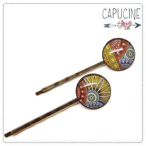 2 pinces bronze cabochons verre rosace - pinces cheveux mandala - Barrettes cheveux illustrées - Mandala Coloré