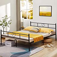 Aingoo Double Bed Frame 4ft 6 Metal Bed with Heart-Shaped for Adults Kids Children Solid Bedstead Ba...