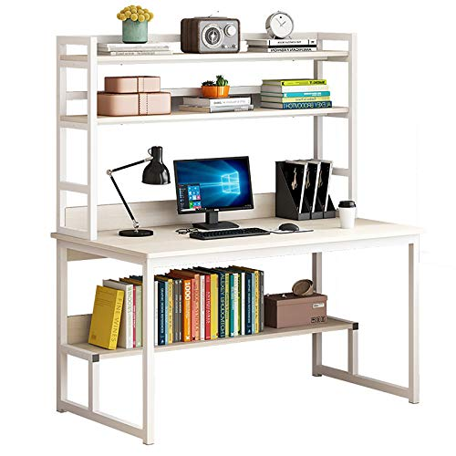 CUICI Computer Desk With Bookshelves,Office Desk Writing Study Table With Storage,Gaming Desk Pc Table For Home Office Workstation-Beige 120x60x153.6cm(47x24x60inch)