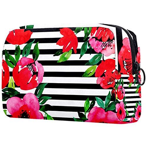 Bolsa de maquillaje personalizable, portátil, para mujer, bolso de mano, organizador de viaje, diseño de flores y rayas