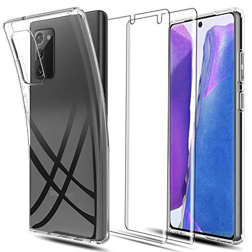 LK Custodia per Samsung Galaxy Note 20 5G, Morbida Silicone TPU Protettiva in Gomma Flessibile Case Cover con Pellicola Protettiva[2 Pack] per Samsung Galaxy Note 20 (6,7 Pollici) - Trasparente