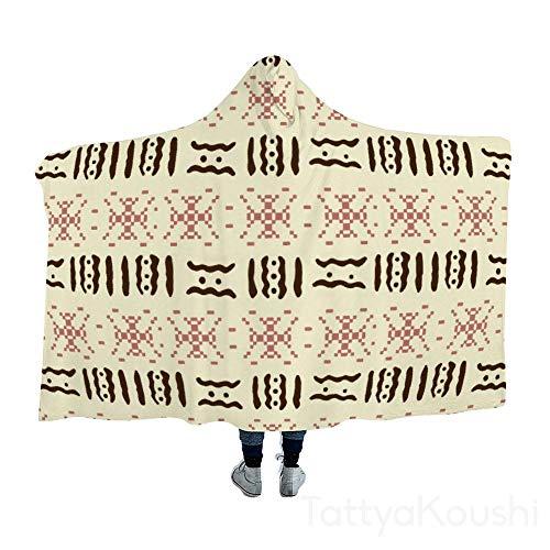 TattyaKoushi - Manta con capucha, manta para siestas, diseño de llave griega, color verde, negro y rojo, algodón, Estilo9, 51x59 Inch