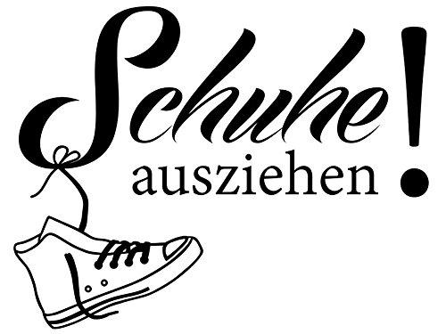 Wandtattoo-bilder® Wandtattoo Schuhe ausziehen Nr 1 Wohnideen Flur Wohndeko Wandsticker Farbe Schwarz, Größe 60x46
