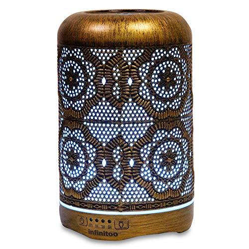 Aroma Diffuser| infinitoo 260ml Luftbefeuchter Ultraschall Metall Aromatherapie Diffusor für ätherische Öle| Aktualisierte Version Raumbefeuchter, 7 Farbe für Zuhause Büro Oder Yoga