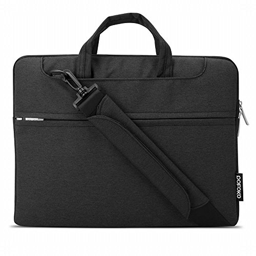 Le donne e gli uomini 11,6 pollici tessuto di Oxford Tablet Laptop Sleeve impermeabile sacchetto del messaggero con tracolla regolabile per il Lavoro Business Travel, Nero