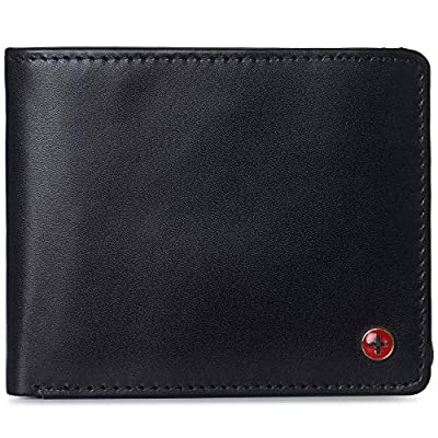 Alpine Swiss Mens Connor RFID Bifold Wallet Passcase Smooth Leather Comes in a Gift Box Black