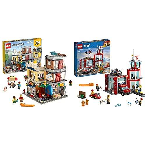 Lego Creator 3In1 31097 Negozio Degli Animali Amp; Cafe, Set Di Costruzioni 3In1 Con Negozio Degli Animali & City Fire Caserma Dei Pompieri Su 3 Livelli Con 4 Minifigures Mattoncini Sonori E Luminosi