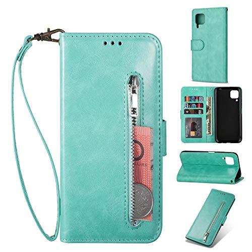 Nadoli Lederhülle für Huawei P40 Lite,Stilvoll Reißverschluss Entwurf Pu Leder Magnetverschluss Standfunktion Kartenfächer Brieftasche Handyhülle Etui mit Lanyard