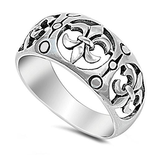 Filigrana Fleur de lis ritaglio ampio anello in argento nuovo .925Band taglie 5–10 e Argento, 17
