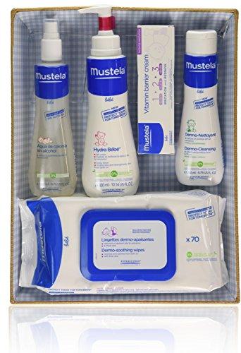 Mustela Bébé - Canastilla azul - Agua de colonia + Hydra Bébé + Vitamin barrier cream + Dermo Nettoyant + Toallitas - 1 pack, Una talla