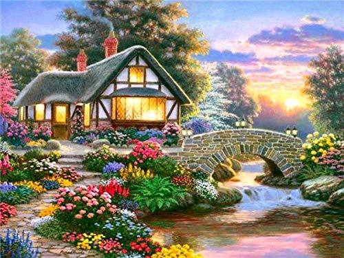 Kits de pintura de diamantes casa bordado de diamantes lago punto de cruz paisaje diamantes de imitación arte Hobby regalo decoración del hogar A1 30x40cm
