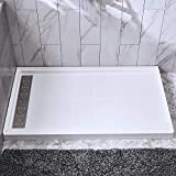 Woodbridge SBR6034-1000L Solid Surface Shower Base with Recessed Trench Side Including Stainless Steel Linear Cover, 60' L x 34' W x 4' H, Left Drain, White Color