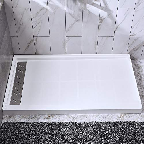 """WOODBRIDGE SBR4832-1000-L Solid Surface Shower Base with Recessed Trench Side Including Stainless Steel Linear Drain Cover, 48"""" L x 32"""" W x 4"""" H, 48""""x 32"""", White"""