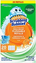 Scrubbing Bubbles Fresh Brush Flushables Refill, Toilet and Toilet Bowl Cleaner, Eliminates Odors and Limescale, Citrus Action Scent, 20ct