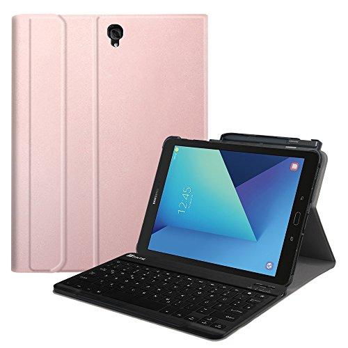 Fintie Tastatur Hülle für Samsung Galaxy Tab S3 T820 / T825 (9,68 Zoll) Tablet-PC - Superdünn leicht Ständer Schutzhülle mit magnetisch Abnehmbarer drahtloser Deutscher Bluetooth Tastatur, Roségold