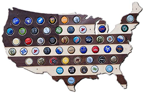 Striped USA Beer Cap Map - Holds 50 Craft Beer Bottle Caps Holder - Beer Gift Accessories for Men, Fathers, Brothers, Man Cave Decor, Home Wet Bars, and Beer Lovers (Dark Stripes)
